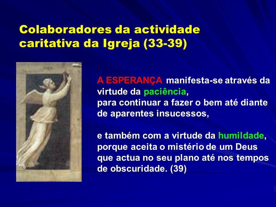 Colaboradores da actividade caritativa da Igreja (33-39) Os agentes da caridade devem ser pessoas com vida de oração, e não se deixarem influenciar po