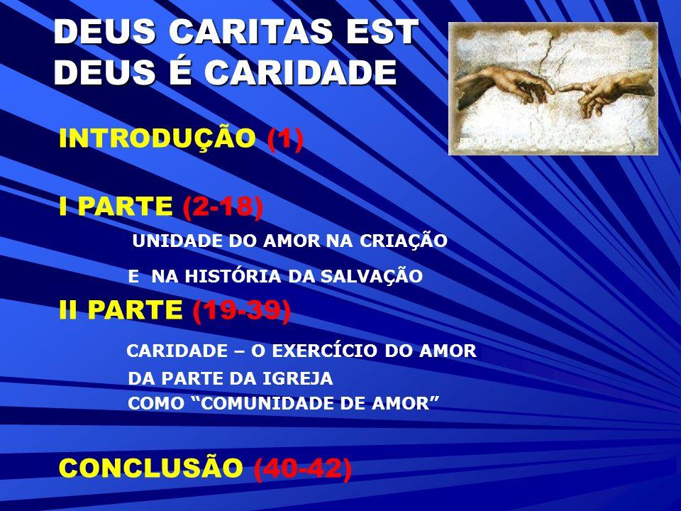 DEUS CARITAS EST DEUS É CARIDADE INTRODUÇÃO (1) I PARTE (2-18) UNIDADE DO AMOR NA CRIAÇÃO E NA HISTÓRIA DA SALVAÇÃO II PARTE (19-39) CARIDADE – O EXERCÍCIO DO AMOR DA PARTE DA IGREJA COMO COMUNIDADE DE AMOR CONCLUSÃO (40-42)