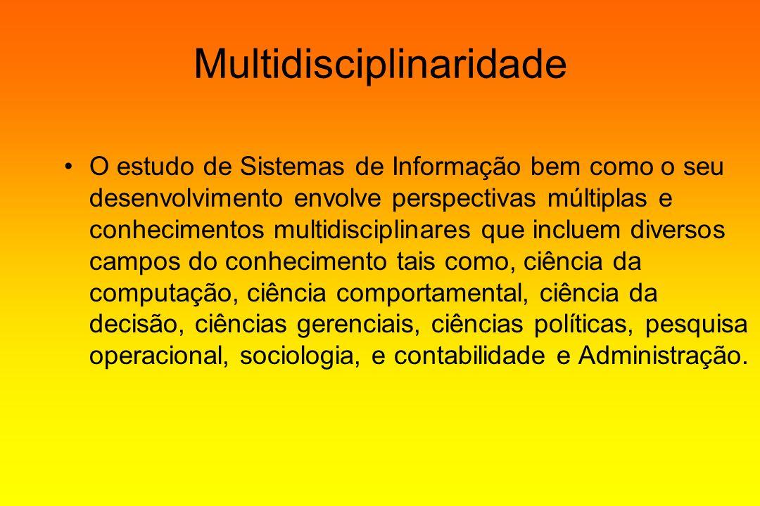 Multidisciplinaridade O estudo de Sistemas de Informação bem como o seu desenvolvimento envolve perspectivas múltiplas e conhecimentos multidisciplina