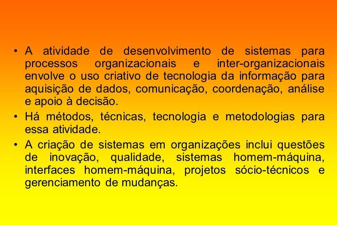 A atividade de desenvolvimento de sistemas para processos organizacionais e inter-organizacionais envolve o uso criativo de tecnologia da informação p