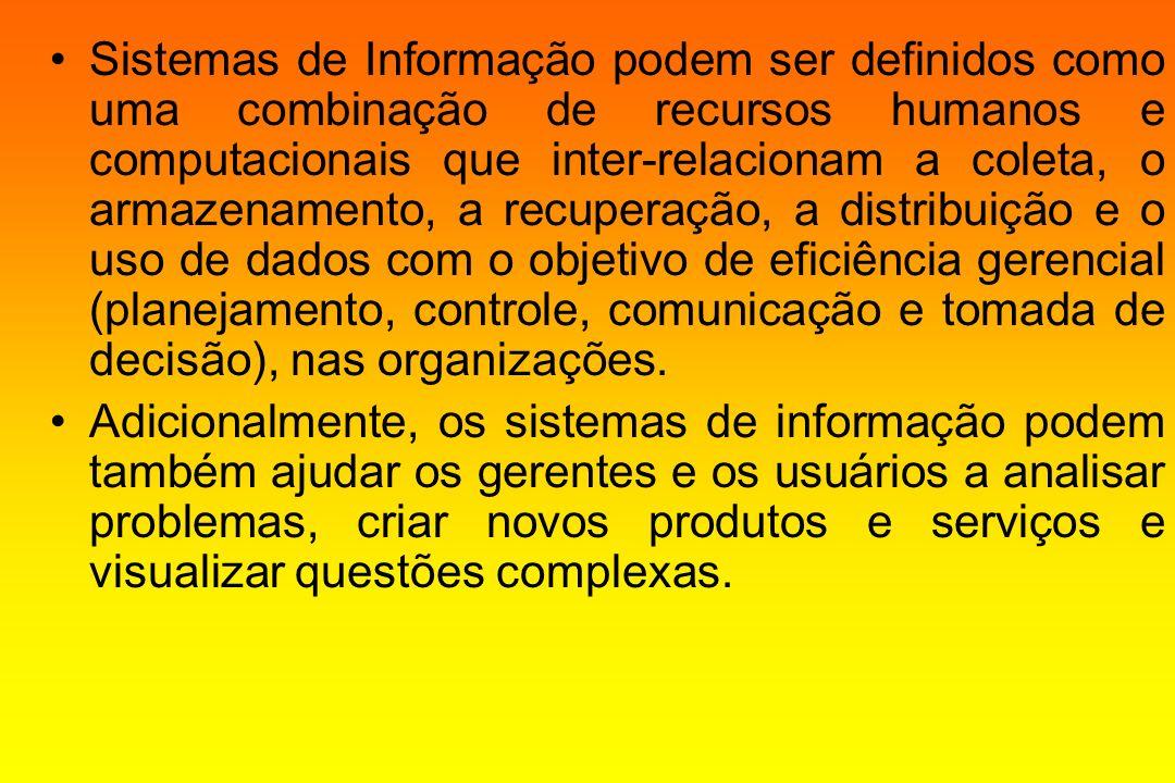Sistemas de Informação podem ser definidos como uma combinação de recursos humanos e computacionais que inter-relacionam a coleta, o armazenamento, a