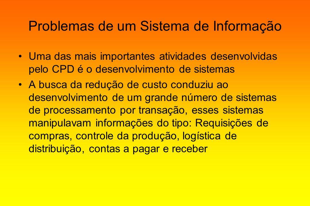 Problemas de um Sistema de Informação Uma das mais importantes atividades desenvolvidas pelo CPD é o desenvolvimento de sistemas A busca da redução de