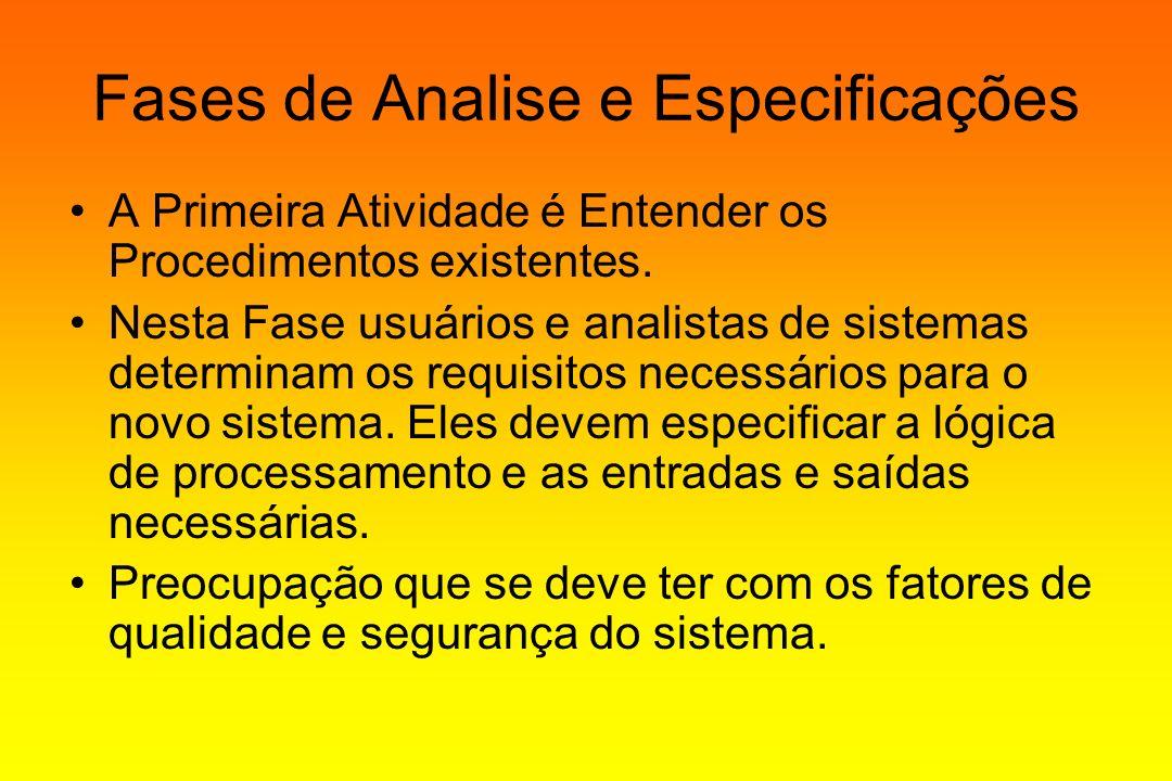 Fases de Analise e Especificações A Primeira Atividade é Entender os Procedimentos existentes. Nesta Fase usuários e analistas de sistemas determinam