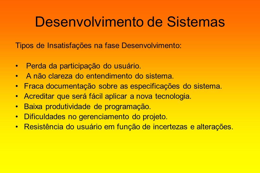 Desenvolvimento de Sistemas Tipos de Insatisfações na fase Desenvolvimento: Perda da participação do usuário. A não clareza do entendimento do sistema