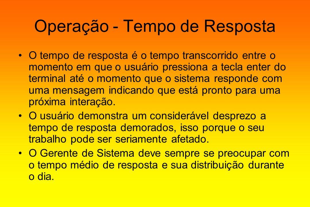 Operação - Tempo de Resposta O tempo de resposta é o tempo transcorrido entre o momento em que o usuário pressiona a tecla enter do terminal até o mom