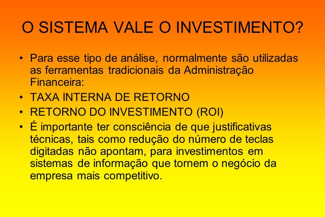 O SISTEMA VALE O INVESTIMENTO? Para esse tipo de análise, normalmente são utilizadas as ferramentas tradicionais da Administração Financeira: TAXA INT