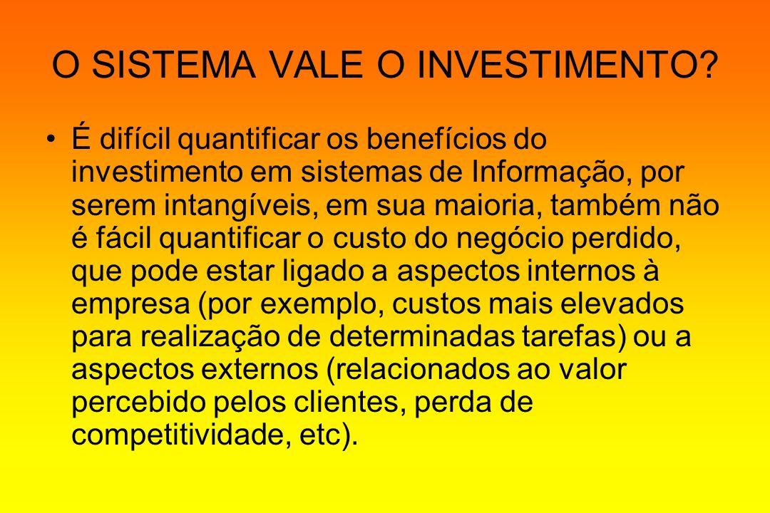 O SISTEMA VALE O INVESTIMENTO? É difícil quantificar os benefícios do investimento em sistemas de Informação, por serem intangíveis, em sua maioria, t