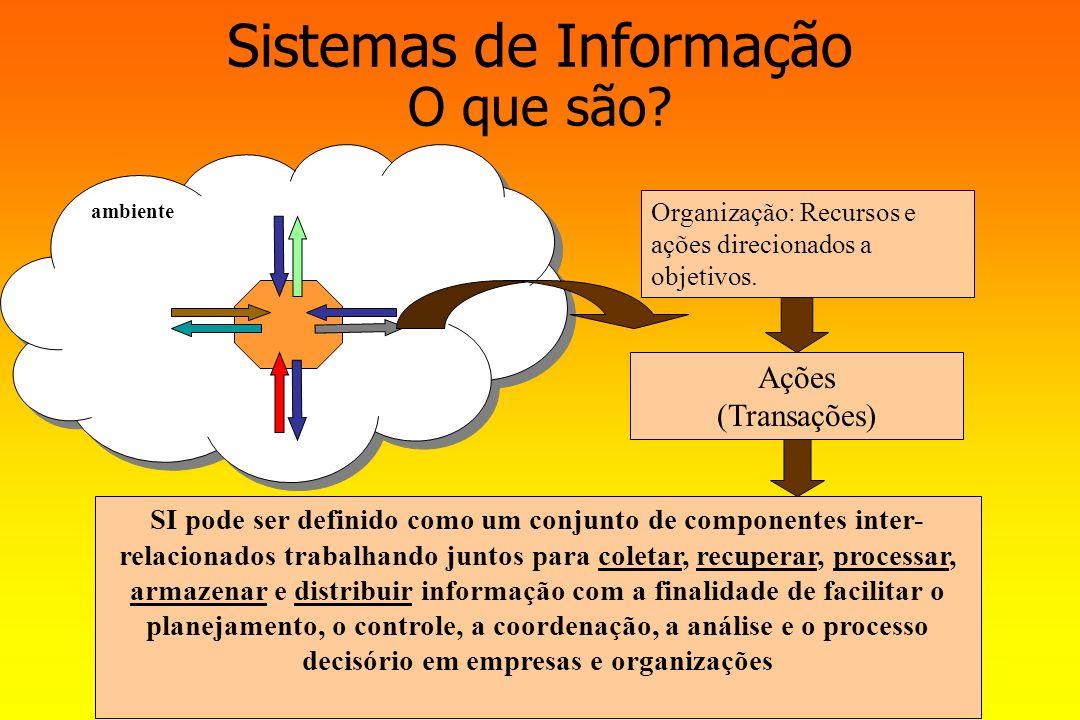 ambiente Sistemas de Informação O que são? SI pode ser definido como um conjunto de componentes inter- relacionados trabalhando juntos para coletar, r