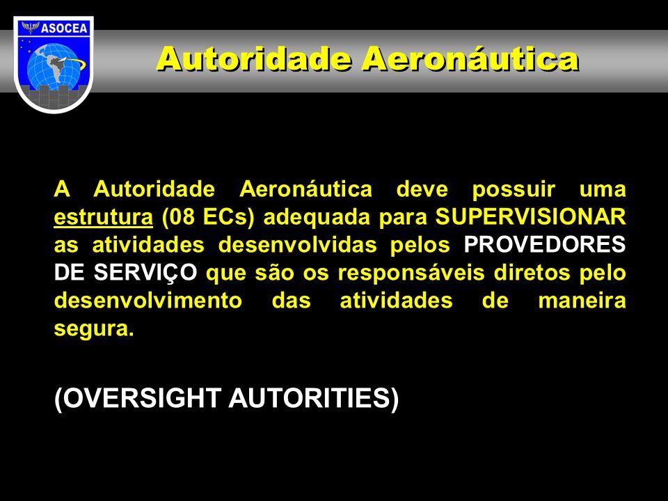 A Autoridade Aeronáutica deve possuir uma estrutura (08 ECs) adequada para SUPERVISIONAR as atividades desenvolvidas pelos PROVEDORES DE SERVIÇO que s