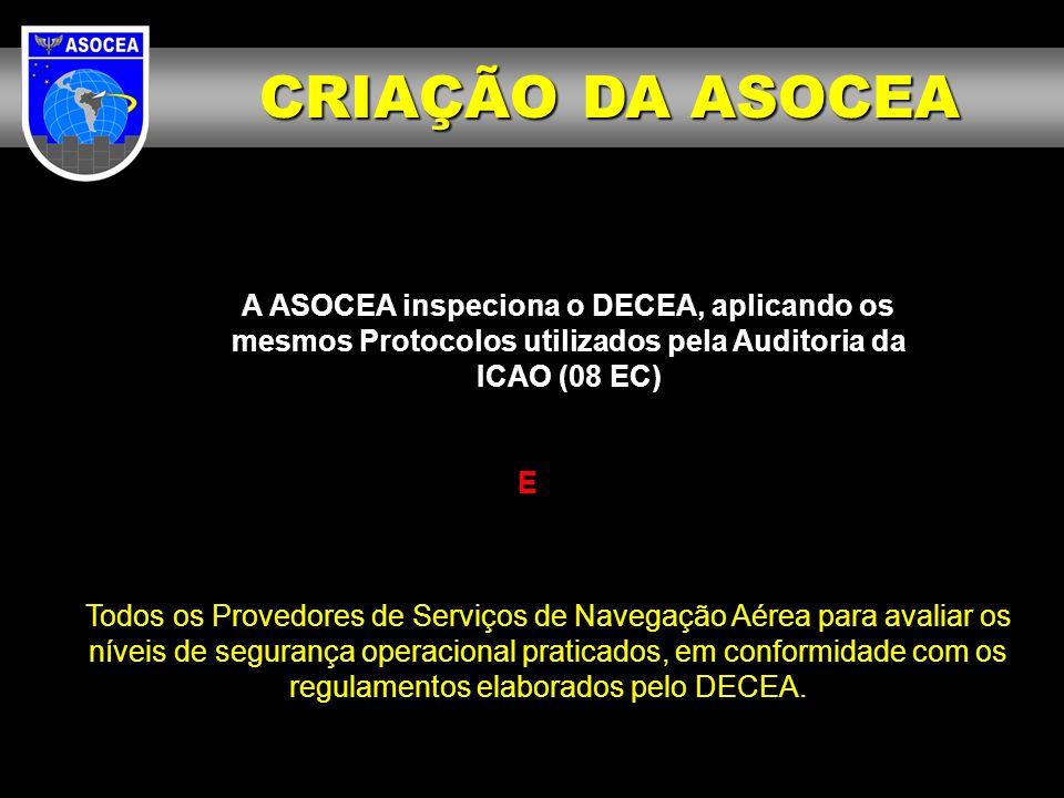 A ASOCEA inspeciona o DECEA, aplicando os mesmos Protocolos utilizados pela Auditoria da ICAO (08 EC) E Todos os Provedores de Serviços de Navegação A