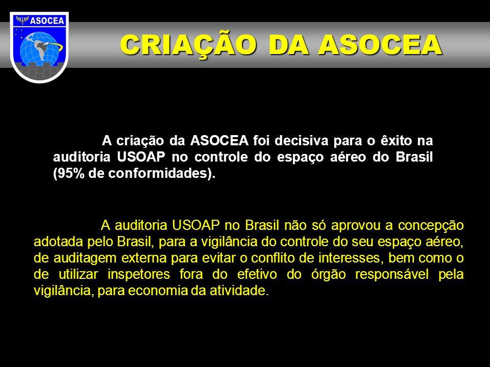 A criação da ASOCEA foi decisiva para o êxito na auditoria USOAP no controle do espaço aéreo do Brasil (95% de conformidades). A auditoria USOAP no Br