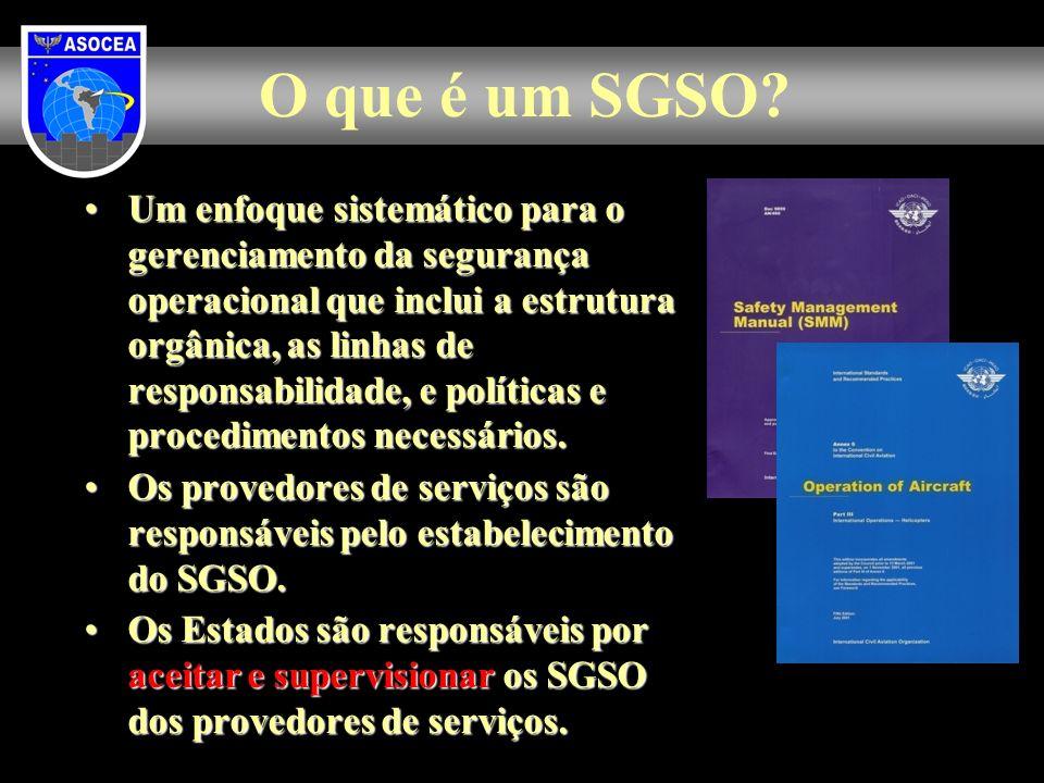 O que é um SGSO? Um enfoque sistemático para o gerenciamento da segurança operacional que inclui a estrutura orgânica, as linhas de responsabilidade,