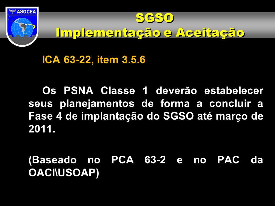 ICA 63-22, item 3.5.6 Os PSNA Classe 1 deverão estabelecer seus planejamentos de forma a concluir a Fase 4 de implantação do SGSO até março de 2011. (