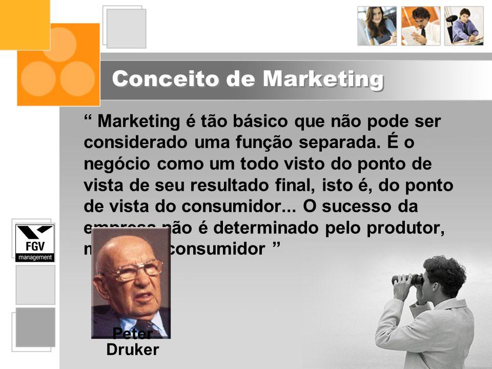 Conceito de Marketing Marketing é tão básico que não pode ser considerado uma função separada. É o negócio como um todo visto do ponto de vista de seu
