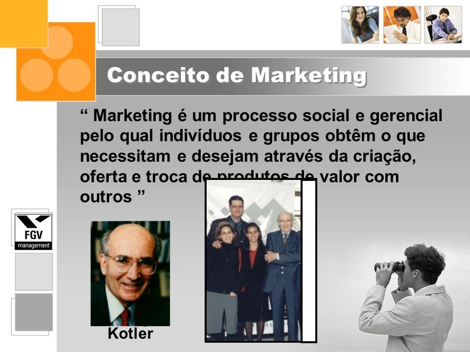 Conceito de Marketing Marketing é um processo social e gerencial pelo qual indivíduos e grupos obtêm o que necessitam e desejam através da criação, of