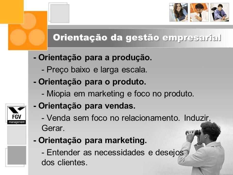 Orientação da gestão empresarial - Orientação para a produção. - Preço baixo e larga escala. - Orientação para o produto. - Miopia em marketing e foco