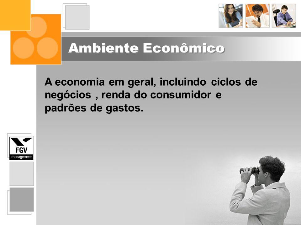 Ambiente Econômico A economia em geral, incluindo ciclos de negócios, renda do consumidor e padrões de gastos.
