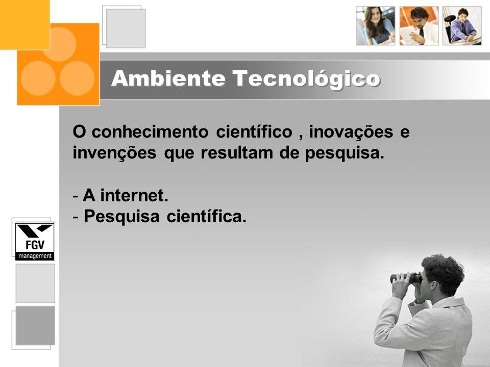 Ambiente Tecnológico O conhecimento científico, inovações e invenções que resultam de pesquisa. - A internet. - Pesquisa científica.