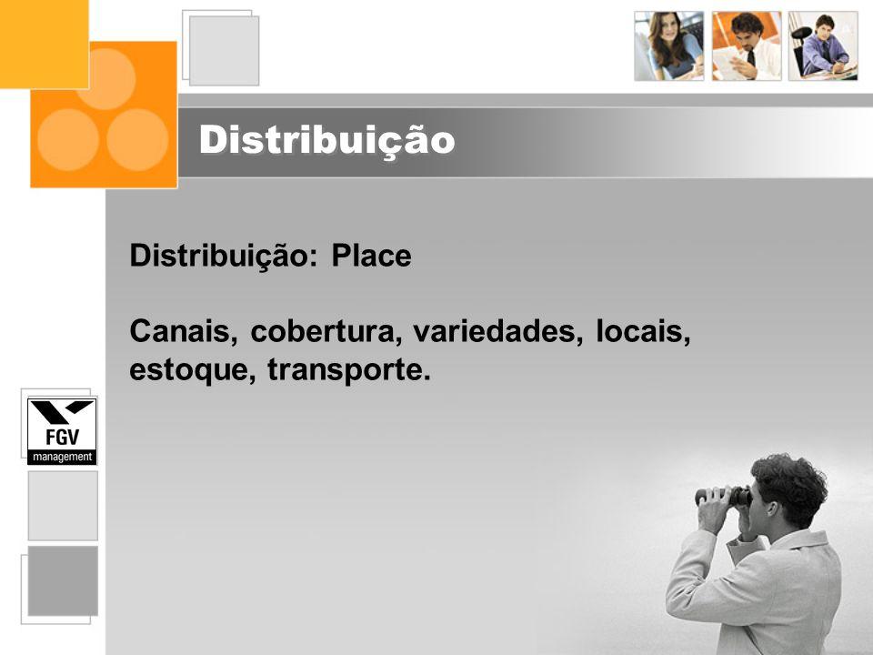Distribuição Distribuição: Place Canais, cobertura, variedades, locais, estoque, transporte.