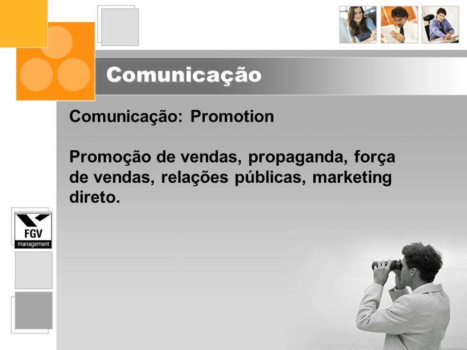 Comunicação Comunicação: Promotion Promoção de vendas, propaganda, força de vendas, relações públicas, marketing direto.