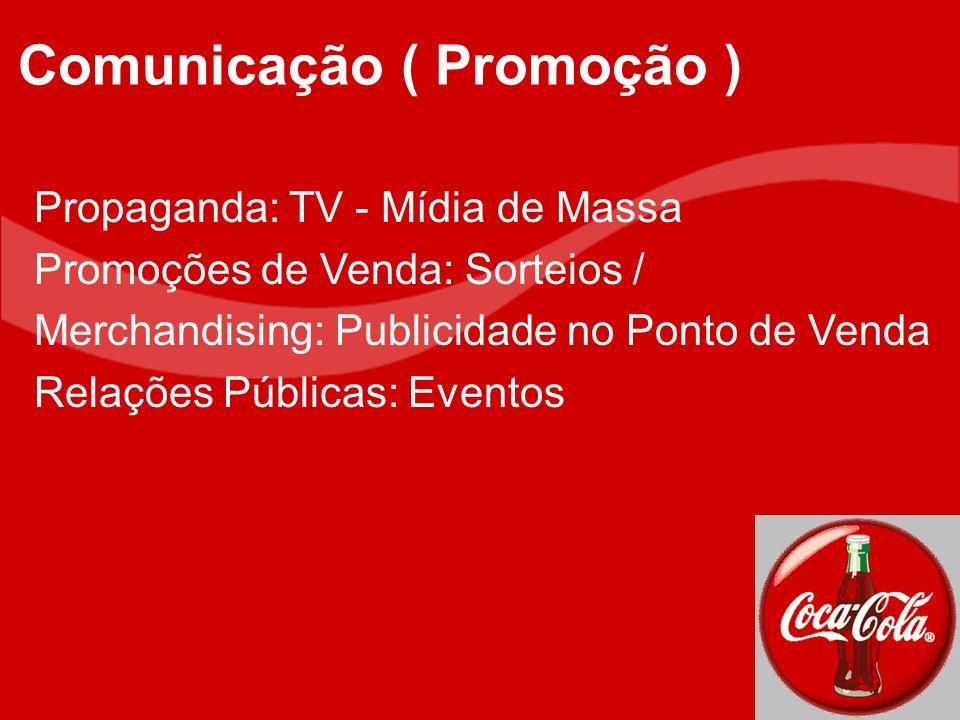 Propaganda: TV - Mídia de Massa Promoções de Venda: Sorteios / Merchandising: Publicidade no Ponto de Venda Relações Públicas: Eventos Comunicação ( P
