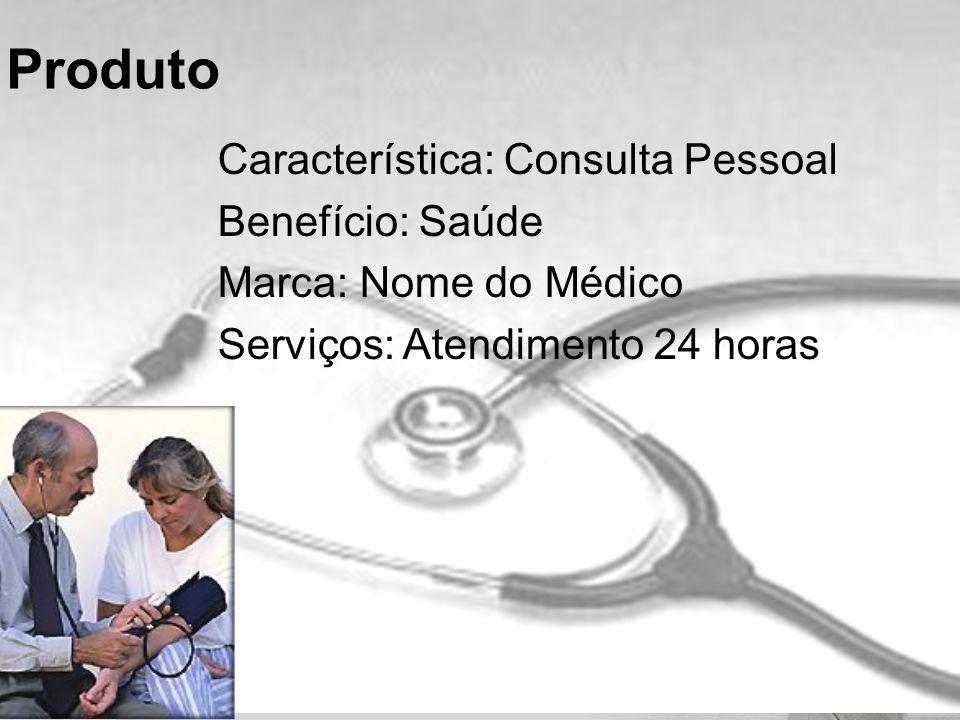 Característica: Consulta Pessoal Benefício: Saúde Marca: Nome do Médico Serviços: Atendimento 24 horas Produto