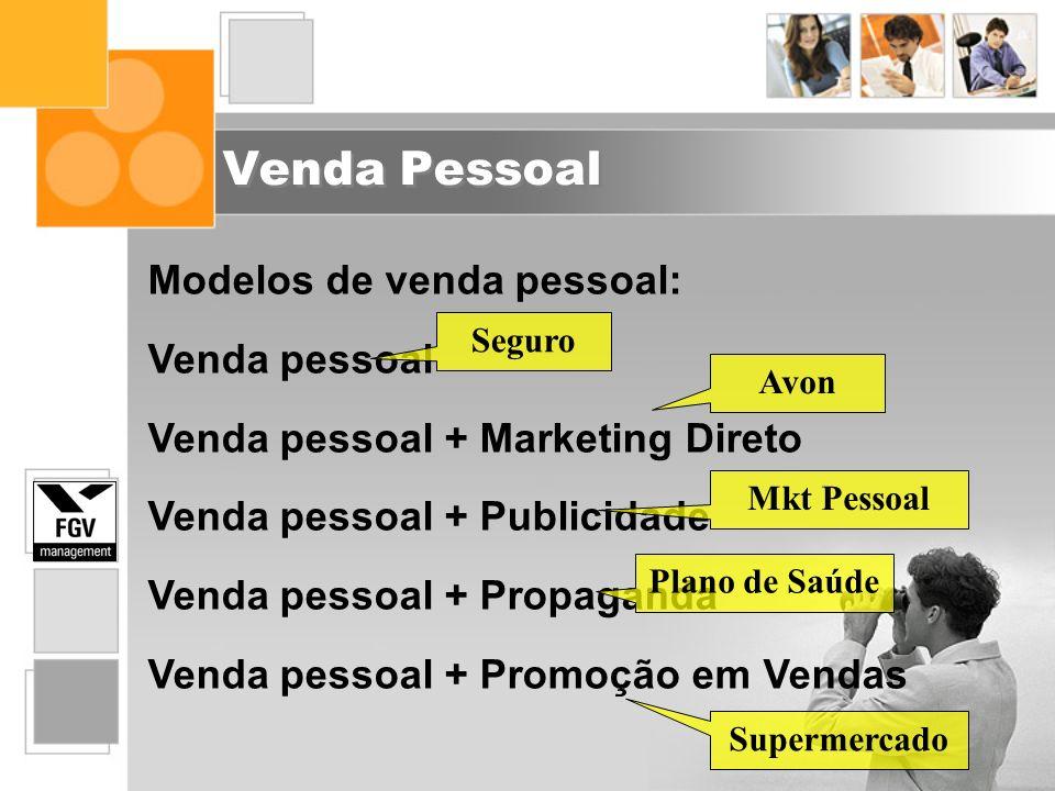 Venda Pessoal Modelos de venda pessoal: Venda pessoal Venda pessoal + Marketing Direto Venda pessoal + Publicidade Venda pessoal + Propaganda Venda pe