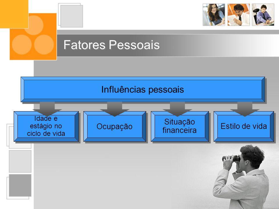 Fatores Pessoais Influências pessoais Idade e estágio no ciclo de vida Ocupação Estilo de vida Situação financeira