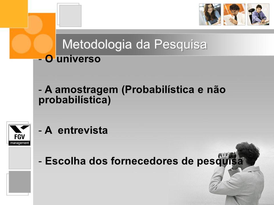 - O universo - A amostragem (Probabilística e não probabilística) - A entrevista - Escolha dos fornecedores de pesquisa Metodologia da Pesquisa
