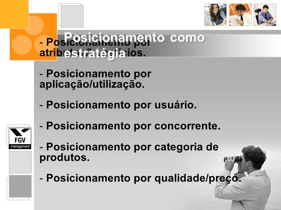- Posicionamento por atributos/benefícios. - Posicionamento por aplicação/utilização. - Posicionamento por usuário. - Posicionamento por concorrente.