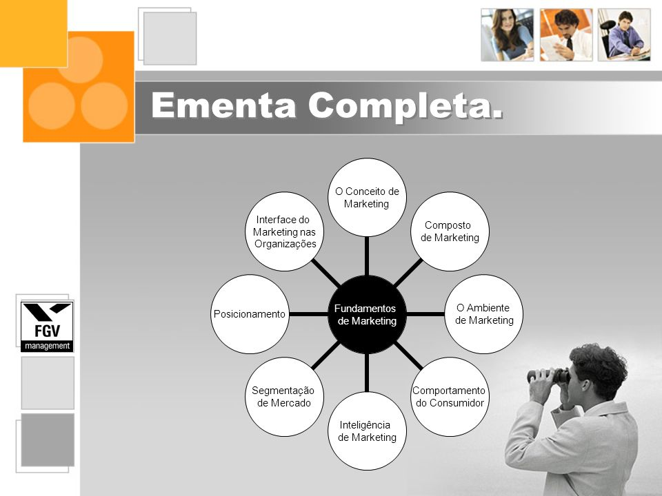 Ementa Completa. Fundamentos de Marketing O Conceito de Marketing Composto de Marketing O Ambiente de Marketing Comportamento do Consumidor Inteligênc
