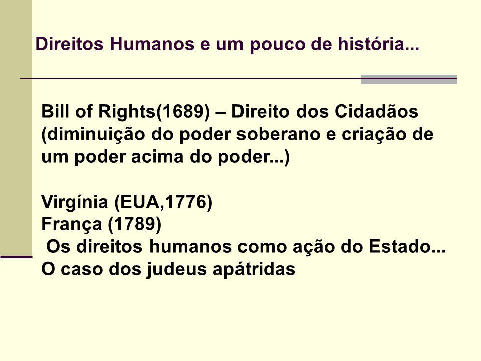 Bill of Rights(1689) – Direito dos Cidadãos (diminuição do poder soberano e criação de um poder acima do poder...) Virgínia (EUA,1776) França (1789) O