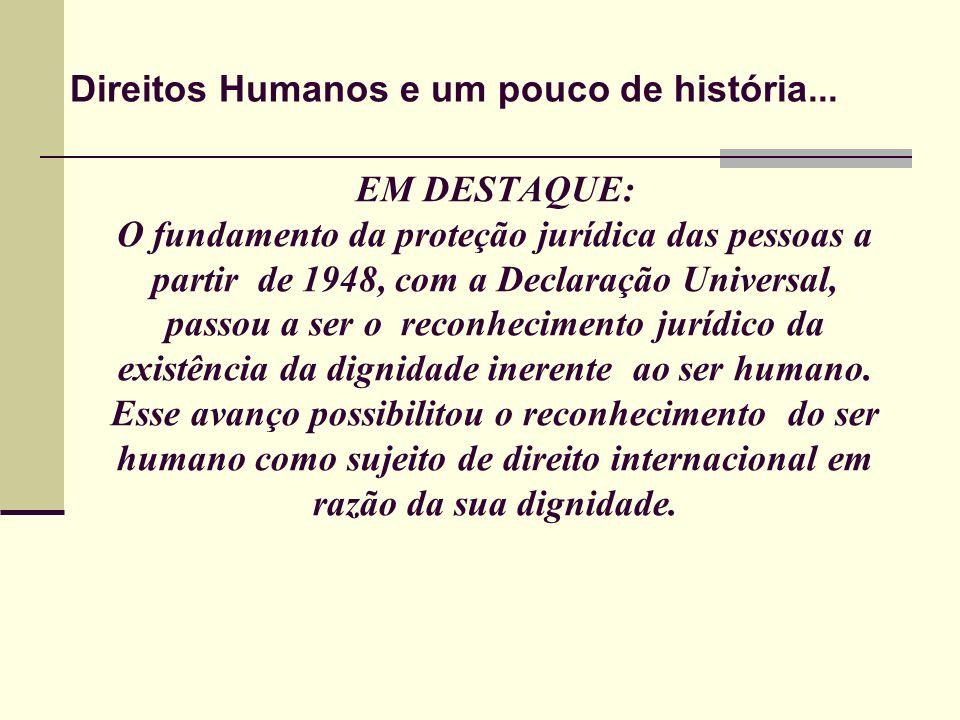 EM DESTAQUE: O fundamento da proteção jurídica das pessoas a partir de 1948, com a Declaração Universal, passou a ser o reconhecimento jurídico da exi