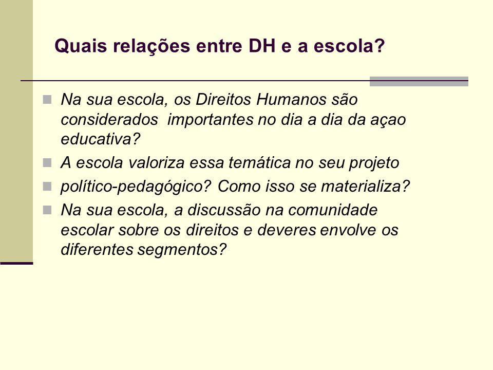 Na sua escola, os Direitos Humanos são considerados importantes no dia a dia da açao educativa? A escola valoriza essa temática no seu projeto polític