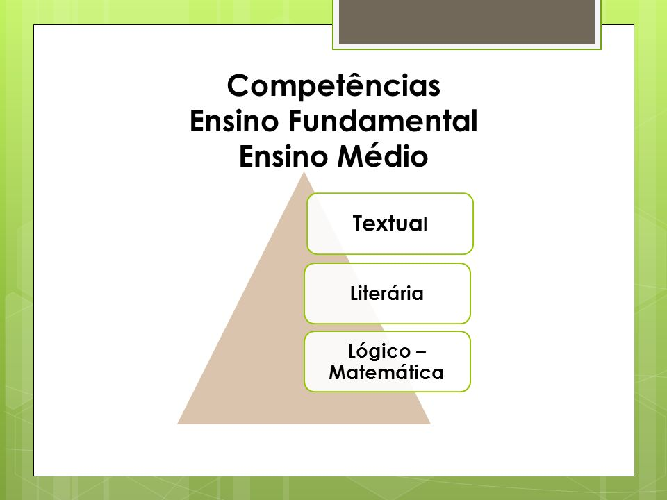 Competências Ensino Fundamental Ensino Médio Textua l Literária Lógico – Matemática