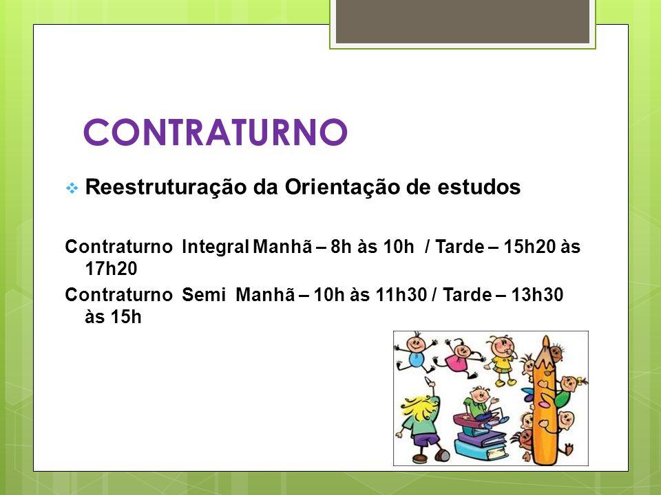 CONTRATURNO Reestruturação da Orientação de estudos Contraturno Integral Manhã – 8h às 10h / Tarde – 15h20 às 17h20 Contraturno Semi Manhã – 10h às 11