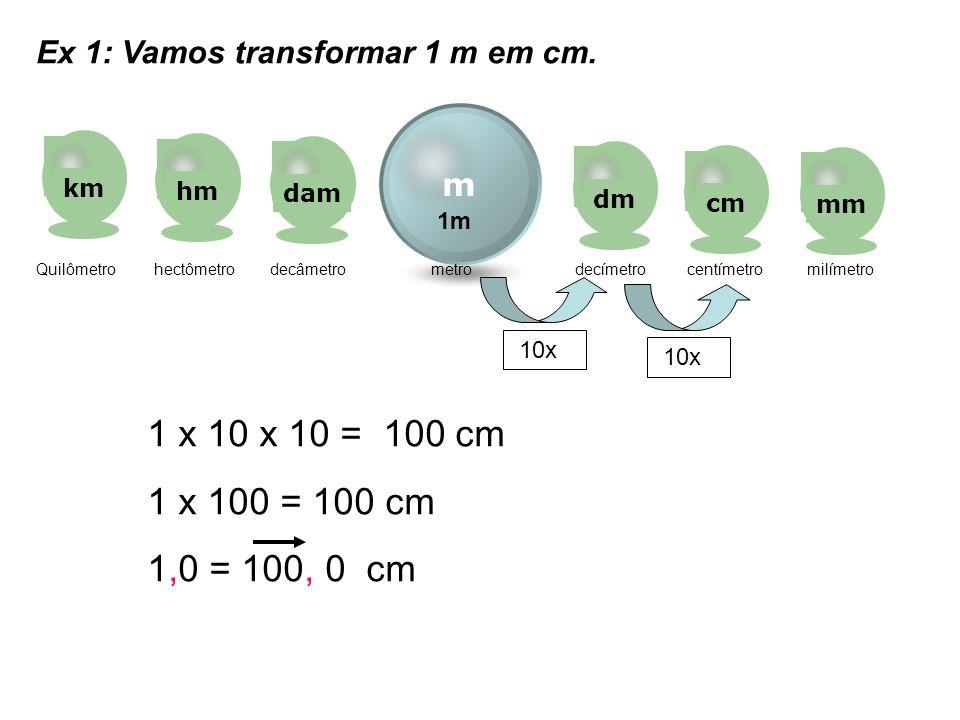 m kmhmdamdmcmmm Quilômetro hectômetro decâmetro metro decímetro centímetro milímetro Ex 1: Vamos transformar 1 m em cm. 10x 1m 1 x 10 x 10 = 100 cm 1