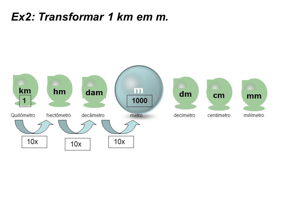 m kmhmdamdmcmmm Quilômetro hectômetro decâmetro metro decímetro centímetro milímetro Ex2: Transformar 1 km em m. 10x 1 1000