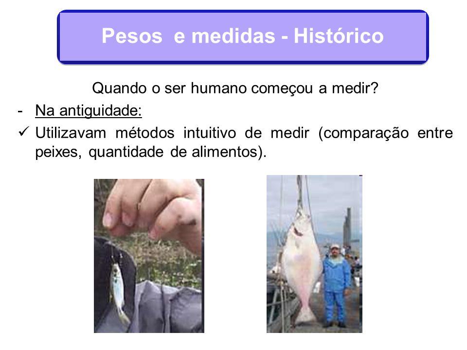 Quando o ser humano começou a medir? -Na antiguidade: Utilizavam métodos intuitivo de medir (comparação entre peixes, quantidade de alimentos). Pesos