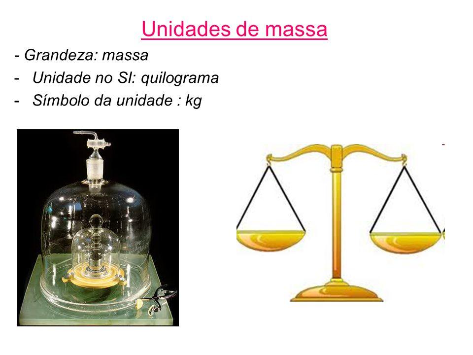 Unidades de massa - Grandeza: massa -Unidade no SI: quilograma -Símbolo da unidade : kg