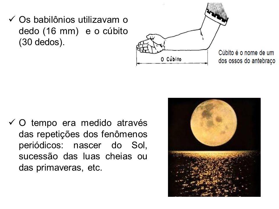 O tempo era medido através das repetições dos fenômenos periódicos: nascer do Sol, sucessão das luas cheias ou das primaveras, etc. Os babilônios util