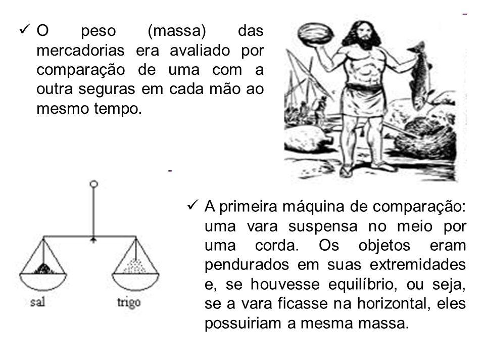 O peso (massa) das mercadorias era avaliado por comparação de uma com a outra seguras em cada mão ao mesmo tempo.