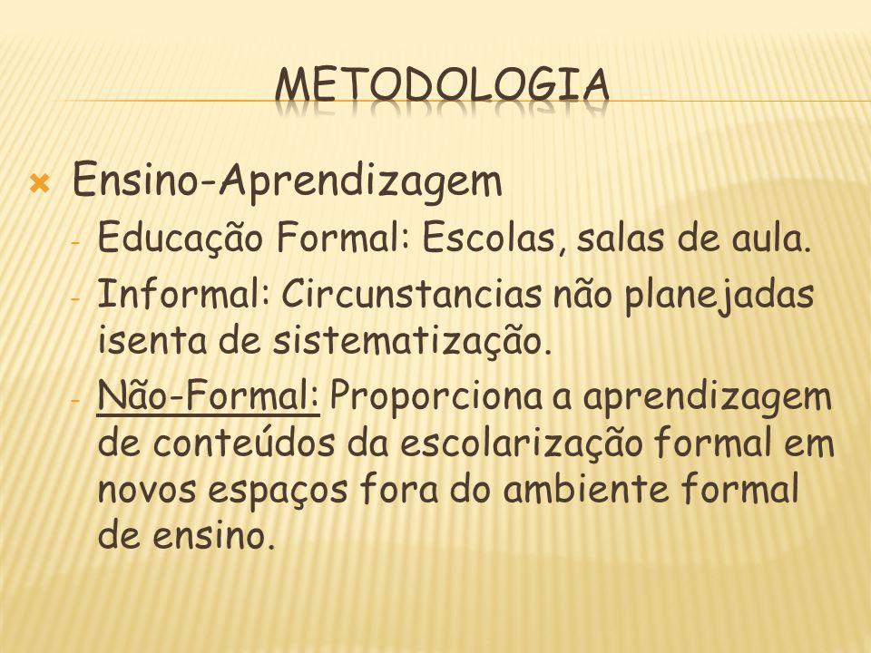 Ensino-Aprendizagem - Educação Formal: Escolas, salas de aula. - Informal: Circunstancias não planejadas isenta de sistematização. - Não-Formal: Propo