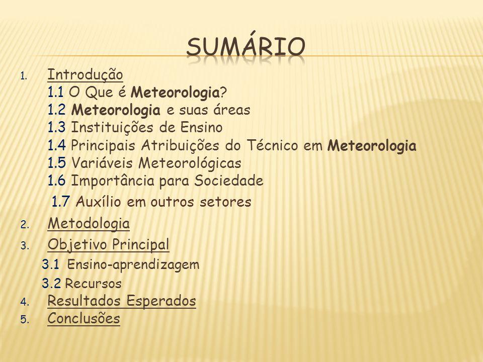 1. Introdução 1.1 O Que é Meteorologia? 1.2 Meteorologia e suas áreas 1.3 Instituições de Ensino 1.4 Principais Atribuições do Técnico em Meteorologia