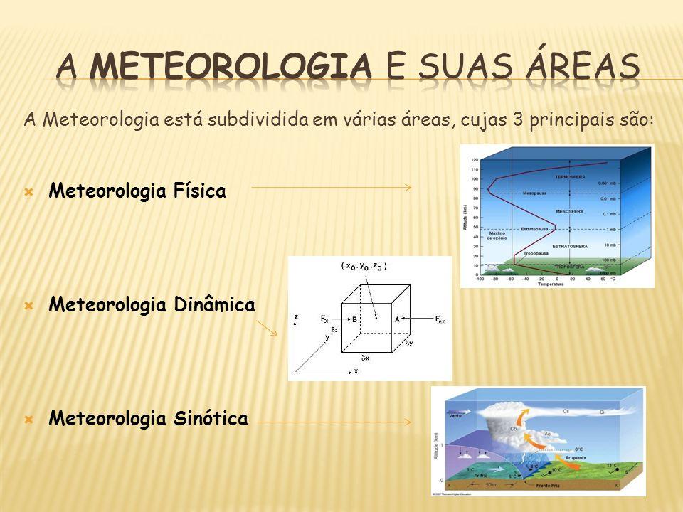 A Meteorologia está subdividida em várias áreas, cujas 3 principais são: Meteorologia Física Meteorologia Dinâmica Meteorologia Sinótica