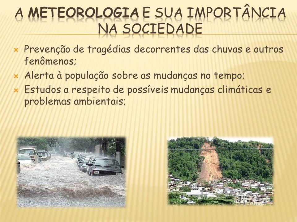 Prevenção de tragédias decorrentes das chuvas e outros fenômenos; Alerta à população sobre as mudanças no tempo; Estudos a respeito de possíveis mudan