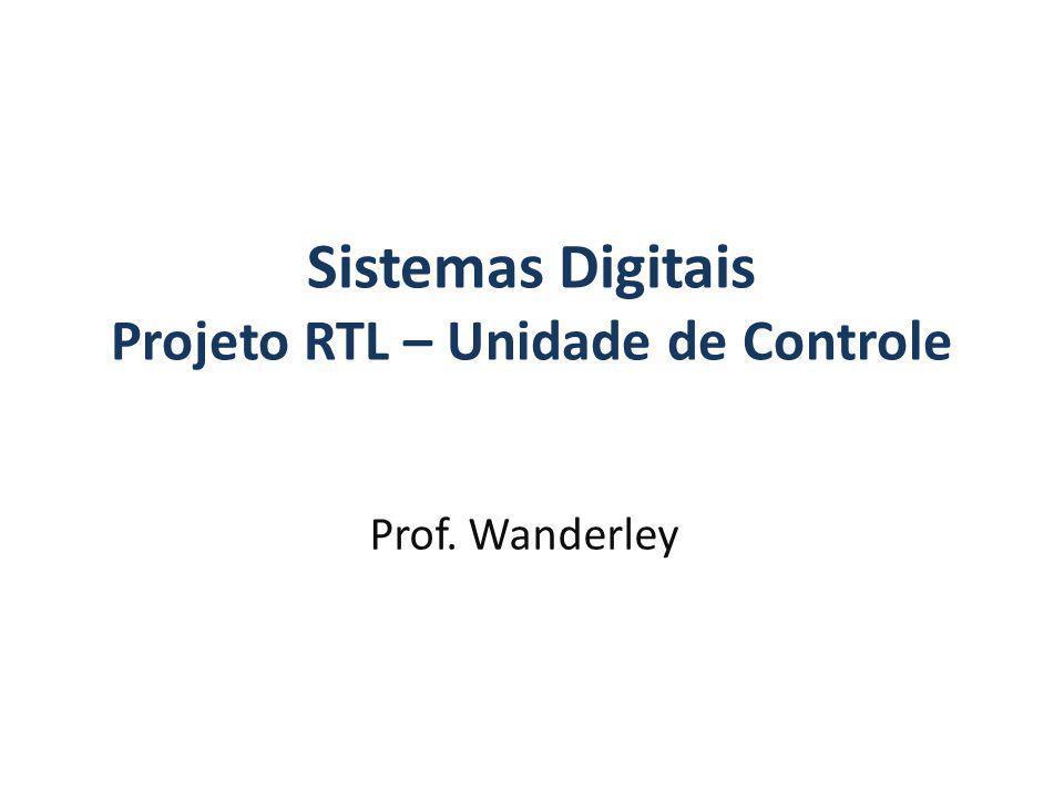 Sistemas Digitais Projeto RTL – Unidade de Controle Prof. Wanderley