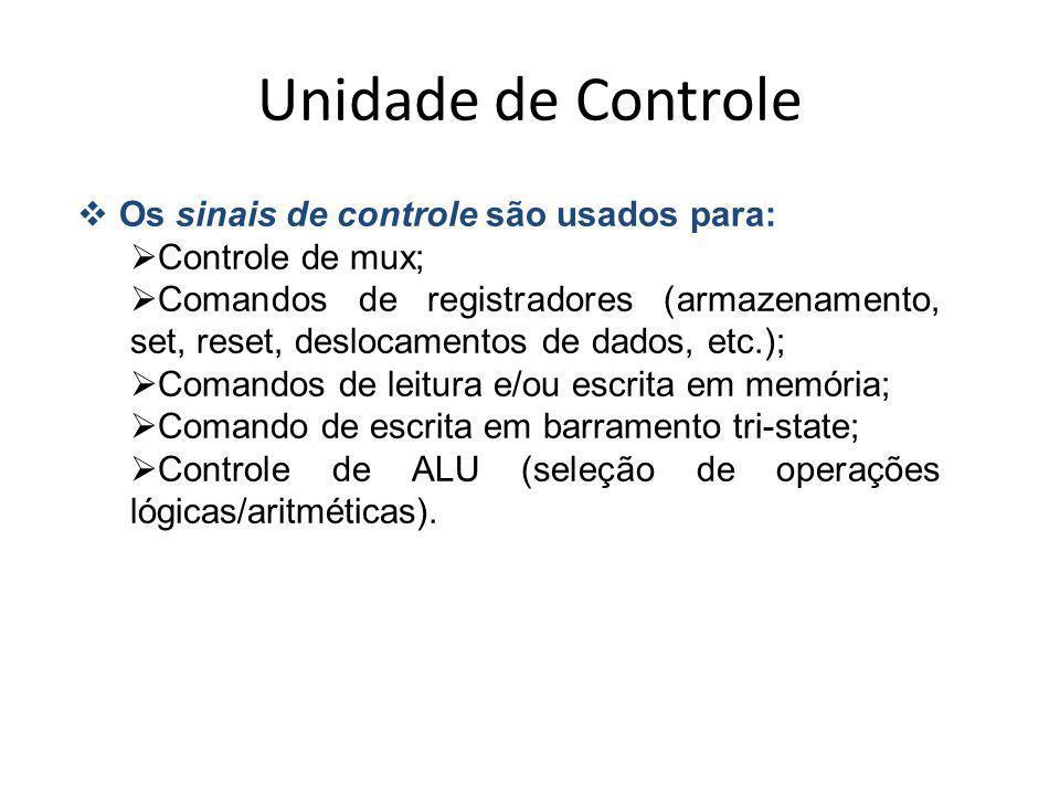 Unidade de Controle Os sinais de controle são usados para: Controle de mux; Comandos de registradores (armazenamento, set, reset, deslocamentos de dad