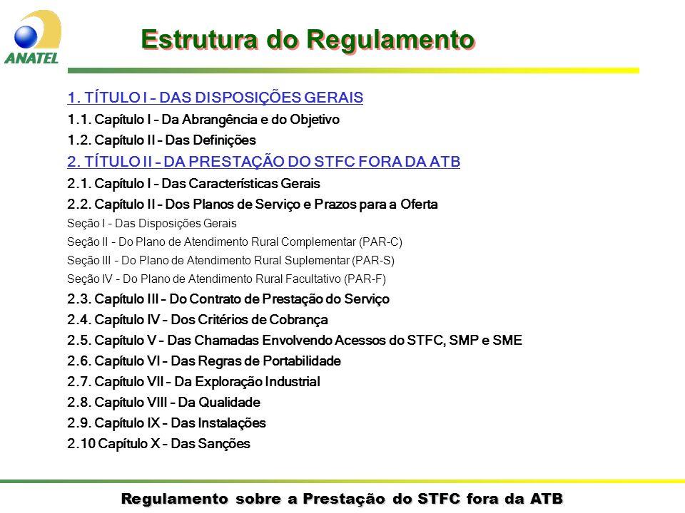 Regulamento sobre a Prestação do STFC fora da ATB 1. TÍTULO I – DAS DISPOSIÇÕES GERAIS 1.1. Capítulo I – Da Abrangência e do Objetivo 1.2. Capítulo II