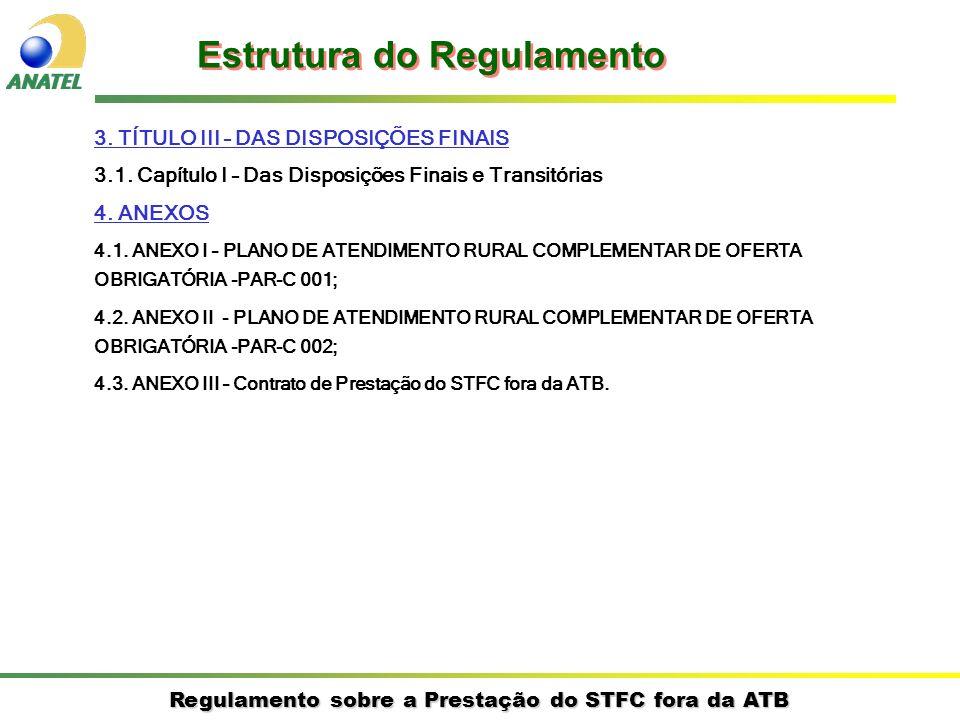 Regulamento sobre a Prestação do STFC fora da ATB 3. TÍTULO III – DAS DISPOSIÇÕES FINAIS 3.1. Capítulo I – Das Disposições Finais e Transitórias 4. AN